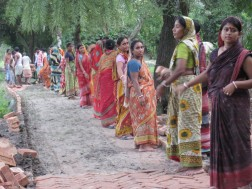 Women who constructed 10 km of brick roads
