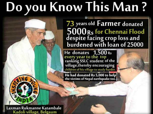 73 year old farmer who donated for Chennai floods