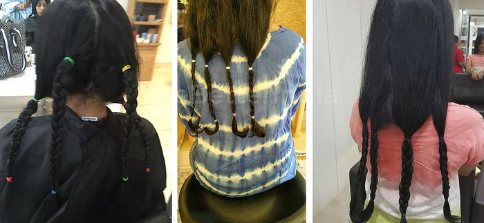 Two friends collect hair for children with cancer