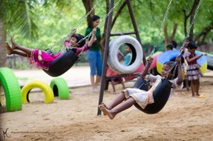 Scrap tyres are converted to playgrounds