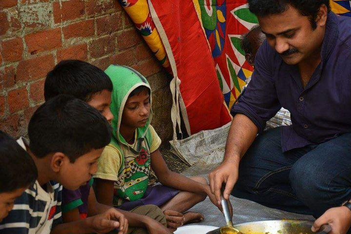 The teacher helping feed the poor