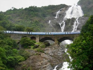 A view of the Dudhsagar Falls with the train passing