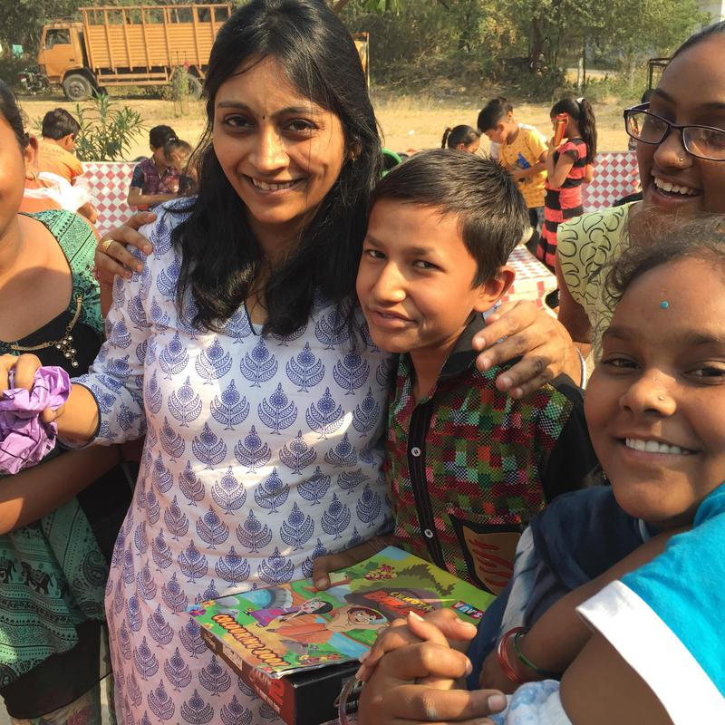 She gives toys to underprivileged children
