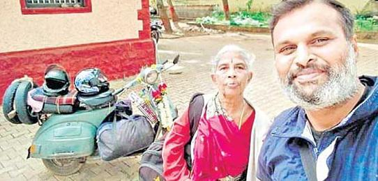 Bengaluru man takes his old mother for pilgrimage on scooter