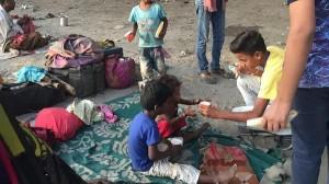 Teens feeding the poor