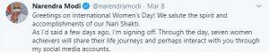 Stories of Women Achievers on PM Modi's social media accounts