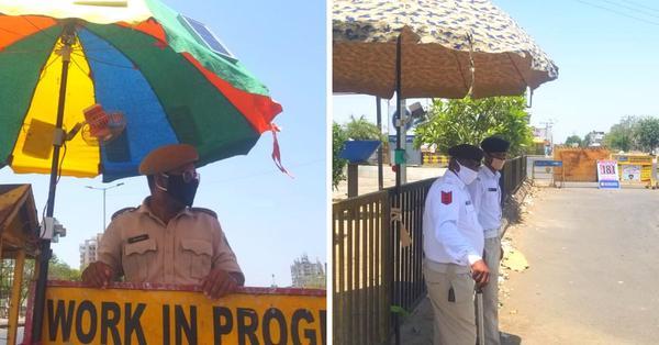 Solar-powered umbrellas for summer heat