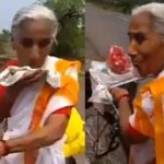Elderly woman is cycling to Vaishno Devi temple